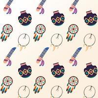 dreamcatcher avec couteaux et colliers motif de culture ethnique vecteur