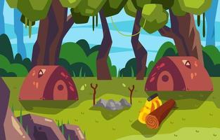 vue apaisante sur le terrain de camping vecteur