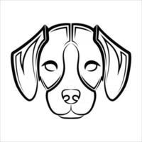 dessin au trait noir et blanc de l'avant de la tête de chien beagle bon usage pour symbole mascotte icône avatar tatouage t-shirt design logo ou tout design vecteur
