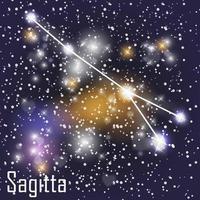 constellation de la sagitta avec de belles étoiles brillantes sur le fond de l & # 39; illustration vectorielle de ciel cosmique vecteur