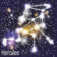 constellation d & # 39; hercule avec de belles étoiles brillantes sur le fond de l & # 39; illustration vectorielle ciel cosmique vecteur