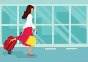 Illustration vectorielle femme avec valise vecteur