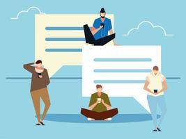 Groupe d'hommes utilisant un smartphone envoi de messages SMS et gadgets vecteur