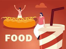 jeunes femmes avec hot-dog et soda avec de la nourriture de paille vecteur