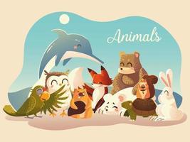 animaux mignons perroquet lapin renard écureuil ours renard castor dauphin hibou et tortue vecteur