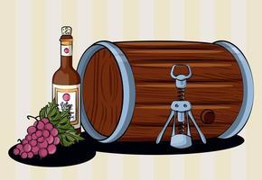 verre de tonneau de vin avec bouteille et raisins vecteur