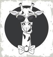 girafe drôle avec des lunettes de soleil style cool vecteur