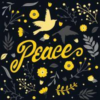 paix lettrage conception de vecteur