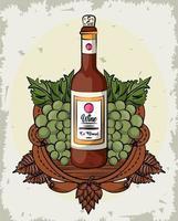 bouteille de vin et raisins fruits vecteur