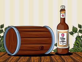 boisson en tonneau de vin avec bouteille vecteur