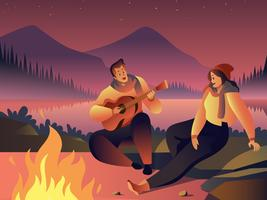 Musique autour du feu de camp vecteur