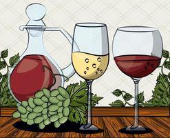 tasse de vin boire avec des raisins fruits vecteur