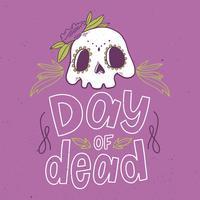 Crâne mignon avec des fleurs vecteur
