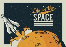 vie dans l & # 39; espace lettrage avec démarrage de vaisseau spatial dans un style vintage affiche vecteur