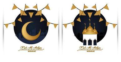 carte de célébration eid al adha avec lune et mosquée vecteur