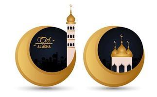 carte de célébration eid al adha avec lunes et mosquée vecteur