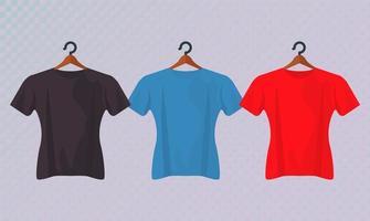 trois maquettes de chemises suspendues vecteur