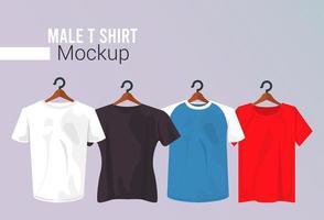 quatre maquettes de chemises suspendues vecteur