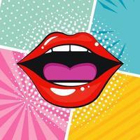 style pop art sexy bouche féminine vecteur
