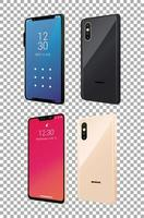 quatre icônes de périphériques smartphones maquette vecteur