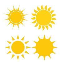 résumé, simplement, soleil, icône, signe, collection, ensemble, vecteur, illustration vecteur
