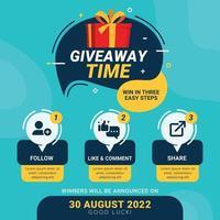 étapes de cadeau pour le concept de conception de concours de médias sociaux vecteur