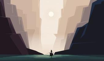 bateau passant un art du paysage de la vallée du canyon vecteur