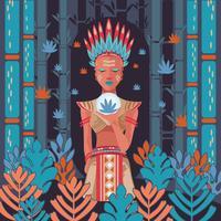 Femme autochtone en rituel vecteur
