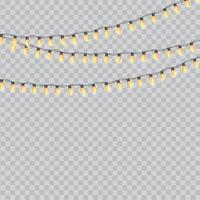 guirlande jaune. ampoules de fête isolées vecteur