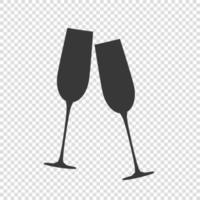 icône de verres de champagne mousseux vecteur