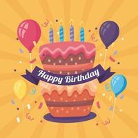 affiche de joyeux anniversaire avec une délicieuse décoration de gâteau et de ballons à l'hélium vecteur