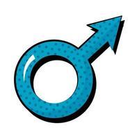 icône de style plat pop art sexe masculin vecteur