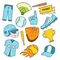 jeu d'icônes d'élément de baseball vecteur