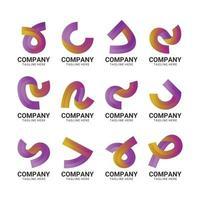 ensemble de logo dégradé abstrait ruban vecteur