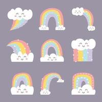 jeu d'icônes de caractère doodle mignon arc-en-ciel vecteur