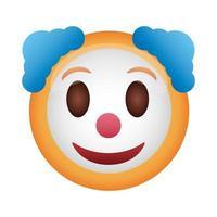 icône de style plat visage clown emoji vecteur
