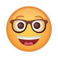 Visage d'emoji en riant avec l'icône de style plat de lunettes vecteur