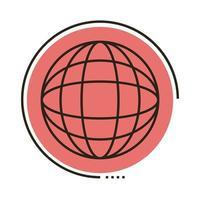 ligne de navigateur de sphère et icône de style de remplissage vecteur