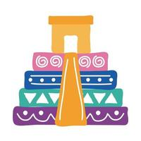 icône de style plat culture pyramide mexicaine vecteur