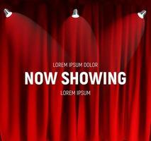 cinéma rétro réaliste montrant maintenant le panneau d'annonce sur fond de rideaux vecteur