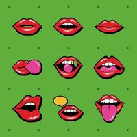 ensemble de neuf bouches et lèvres mis des icônes sur fond vert vecteur