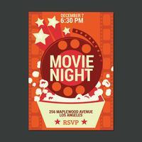 Affiche de film de nuit vecteur