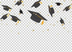 concept de l'éducation fond casquettes de graduation et confettis vecteur