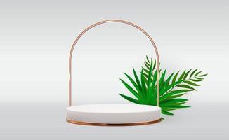 Fond de piédestal 3d blanc avec cadre en anneau doré et feuilles de palmier réalistes pour la présentation de produits cosmétiques ou un magazine de mode vecteur