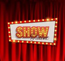 tableau d'annonce de spectacle réaliste avec cadre d'ampoule sur fond de rideaux vecteur