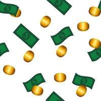 modèle sans couture d'argent. billets et pièces d'un dollar vert vecteur