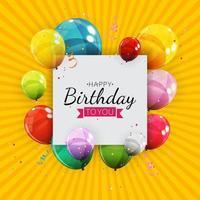 Groupe de ballons à l'hélium brillant de couleur, ensemble de fond de ballons pour les décorations de fête d'anniversaire anniversaire vecteur