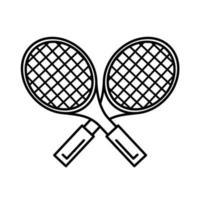icône de style de ligne de raquettes de sport de tennis vecteur