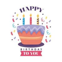 badge joyeux anniversaire et délicieux gâteau aux bougies vecteur