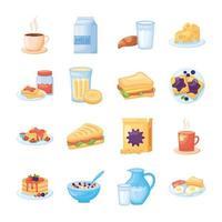 paquet d & # 39; icônes de jeu de nourriture de petit déjeuner vecteur